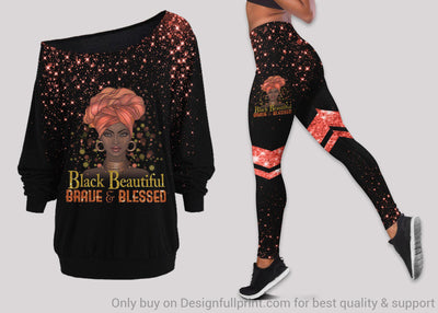 Black Beautiful Brave And Bless Off Shoulder Long Sleeves Top and Leggings Set
