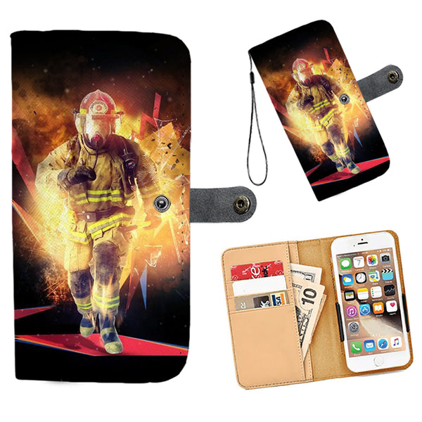 Cell Phone Wallet Case for Universal Models - Fire Dept FireFighter Fire Rescue 004 - designfullprint