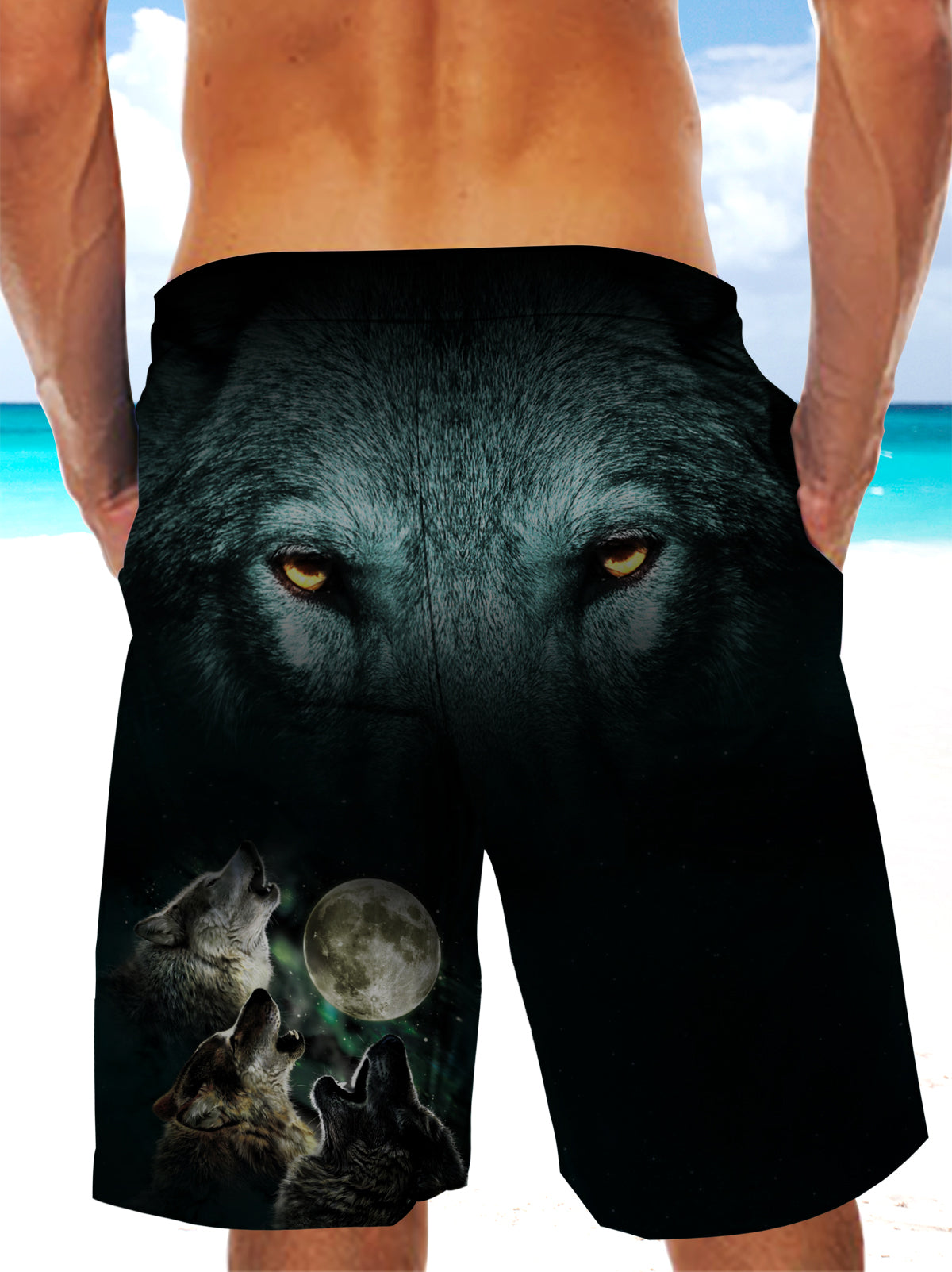 Howling Wolves Wolf Eyes Ultra-light Drawstring Shorts for Men 004