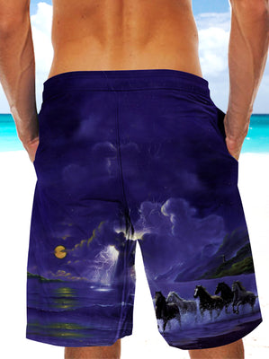 3D Horses Galloping Along The Sea Ultra-light Drawstring Shorts for Men 004 - designfullprint