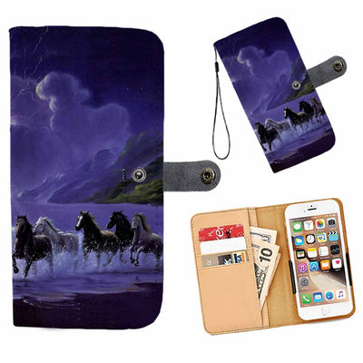 Cell Phone Wallet Case for Universal Models - 3D Horses Galloping Along The Sea Printed Phone Wallet Case 004