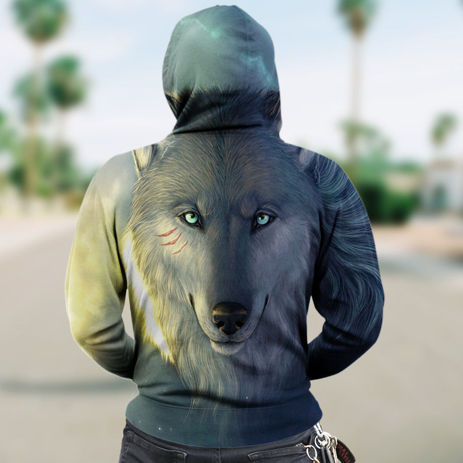 New Fashion Zip Up Hoodies - Wolf Cloudy Blue Light 004