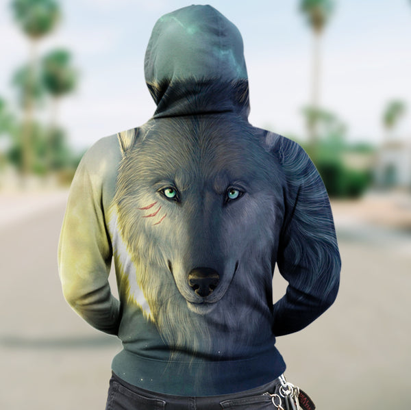 New Fashion Zip Up Hoodies - Wolf Cloudy Blue Light 004 - designfullprint
