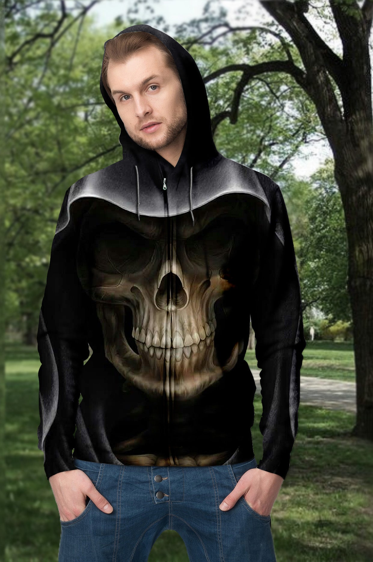 3D Skull Death Unisex Zip up Hoodie 002 - designfullprint