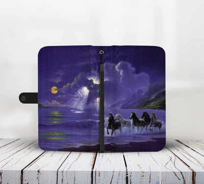 Cell Phone Wallet Case for Universal Models - 3D Horses Galloping Along The Sea Printed Phone Wallet Case 004 - designfullprint