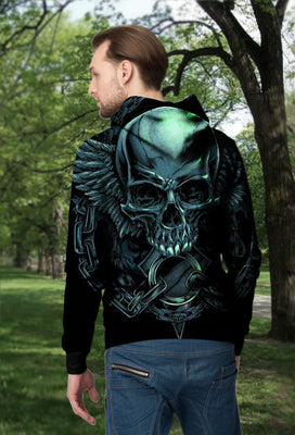 3D Green Skull Angel Wings Unisex Zip up Hoodie 005 - designfullprint