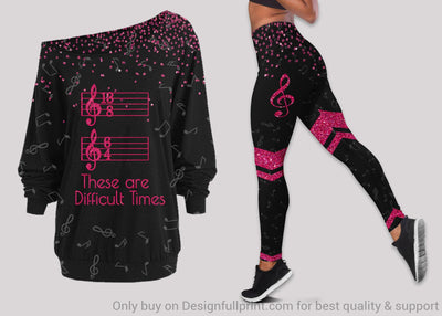 Musical Notes These Are Difficult Times Off Shoulder Long Sleeve Top and Leggings Set