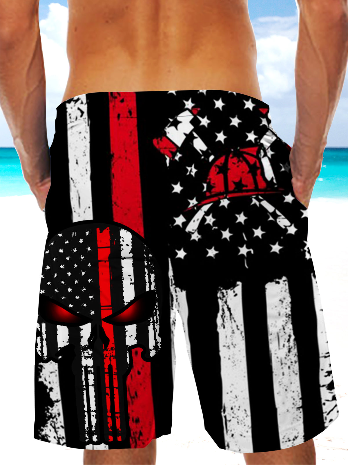 Ultra-light Drawstring Shorts for Men - FIRE DEPT. Firefighter 005 - designfullprint