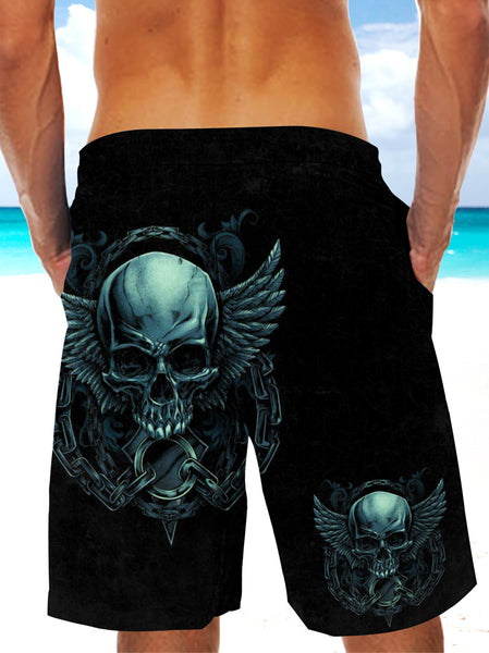 Ultra-light 3D Skull Drawstring Shorts for Men 007 - designfullprint