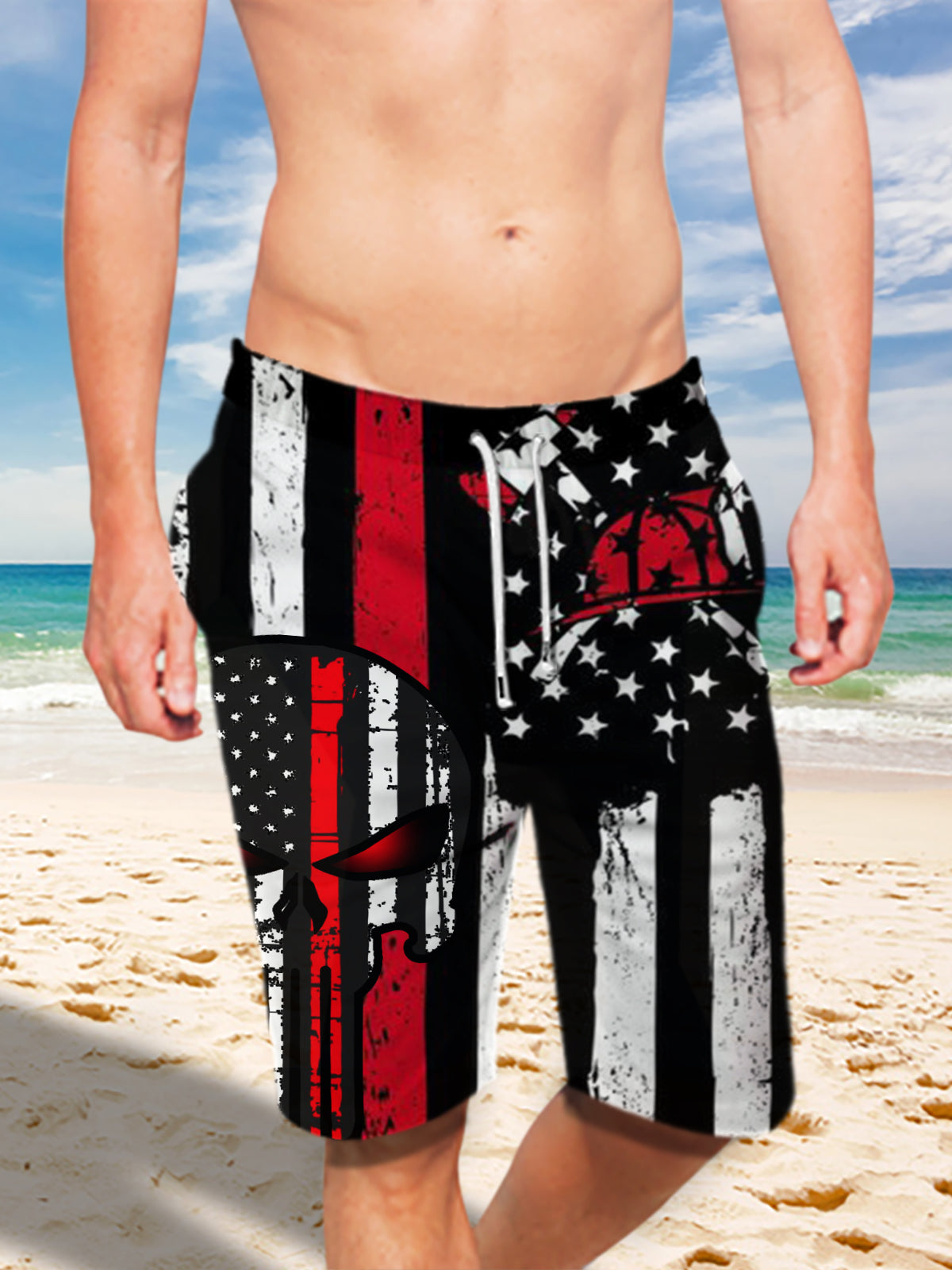 Ultra-light Drawstring Shorts for Men - FIRE DEPT. Firefighter 005