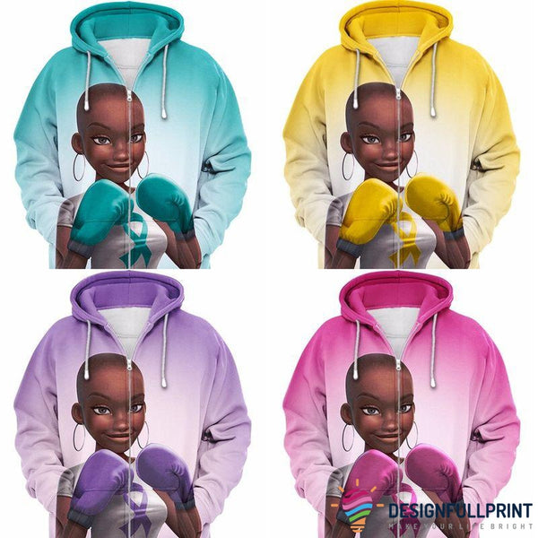 Multi-color Melanin Warrior Health Awareness Zip-up  Hoodie