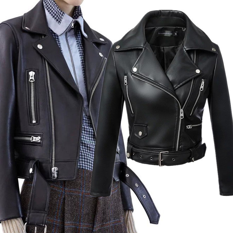 Winter Black Faux Leather Jackets with Zipper,Turn down Collar Band Belt
