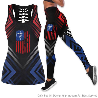 Nurse The 4th Of July Tank Top And Legging Set