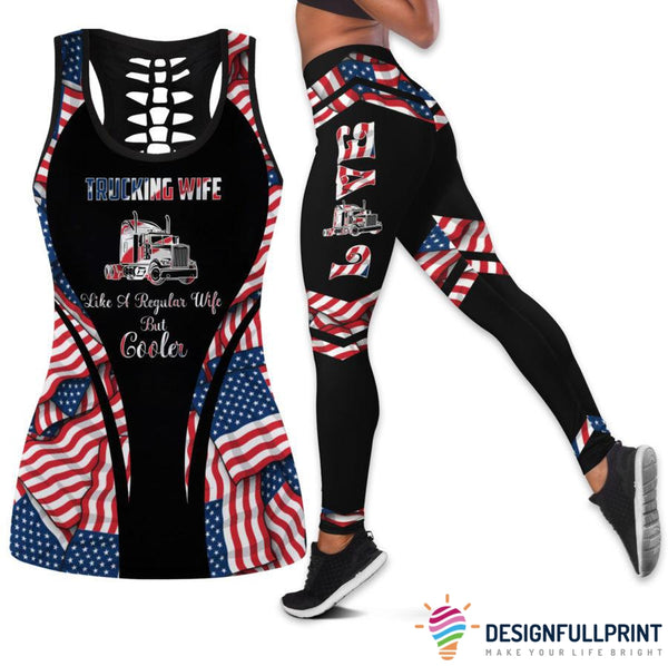 Trucking Wife Truckers Girl 4th july Tank Top And Legging Set