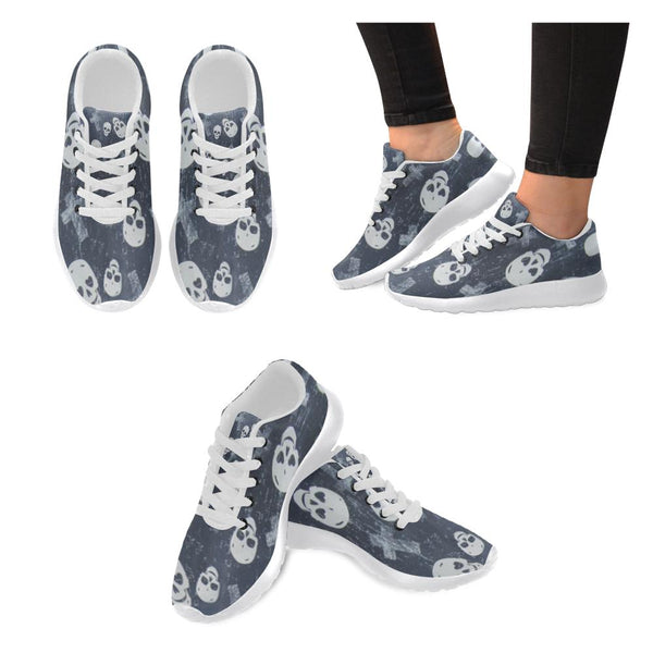 Seamless Pattern Cross And Skull Printed Women's Sneakers