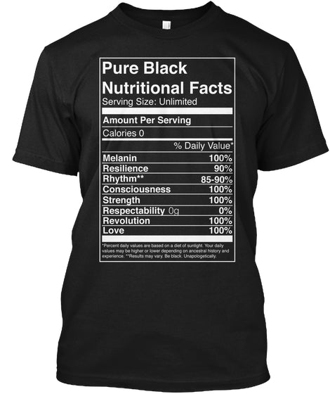 Pure Black Nutritional Facts Ultra Cotton Shirt