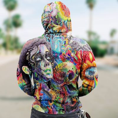 3D Colorful Abstract Skull and Girl Unisex Zip Up Hoodie 020 - designfullprint