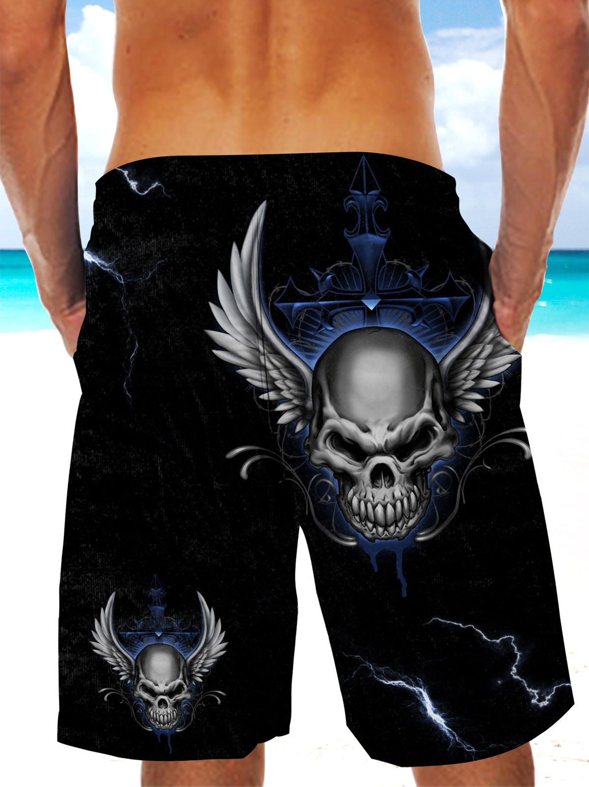 Ultra-light Drawstring 3D Blue Skull Angel Wings Shorts for Men 009 - designfullprint
