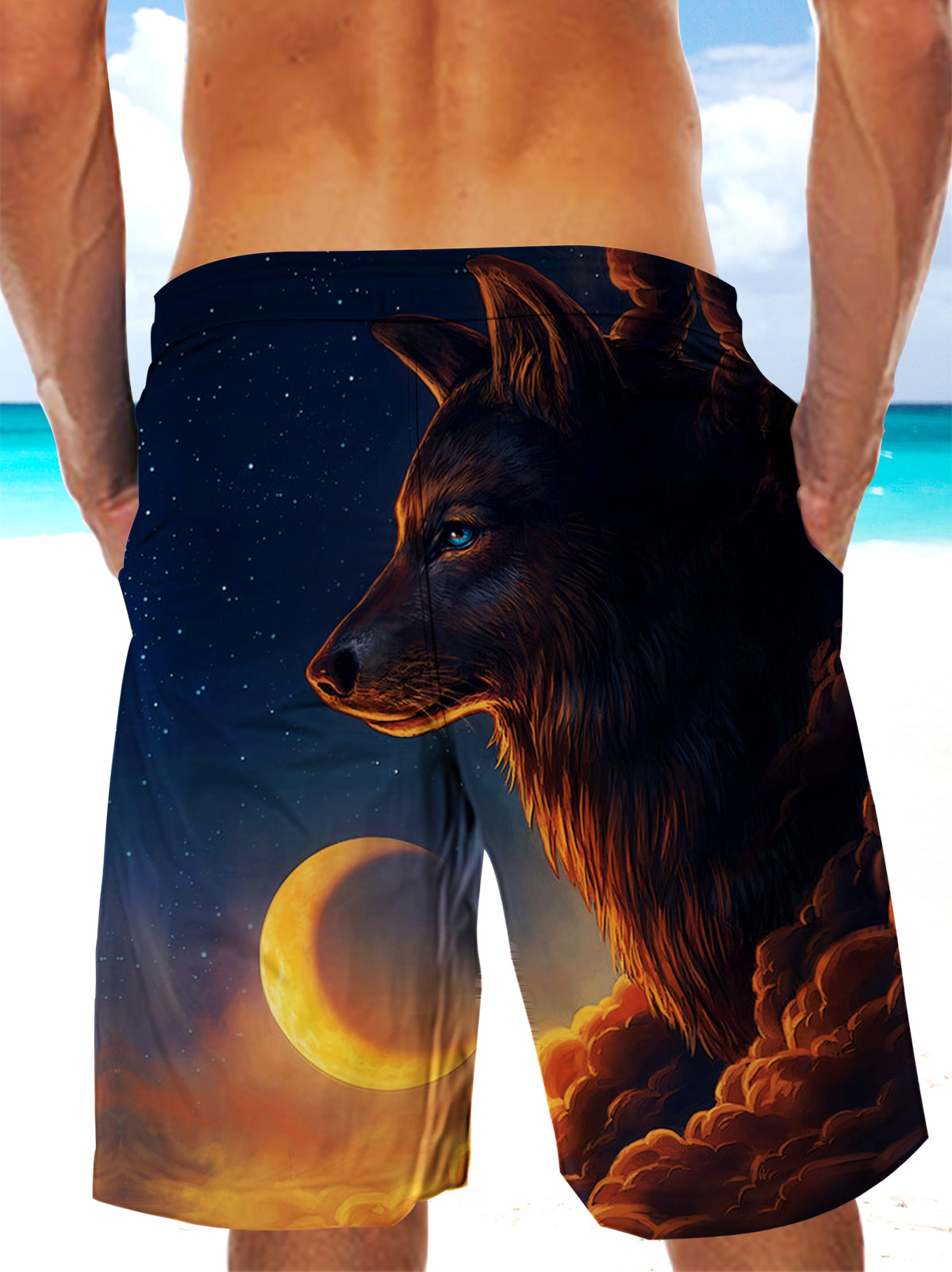 Wolf and Starry Sky Ultra-light Drawstring Shorts for Men 005 - designfullprint