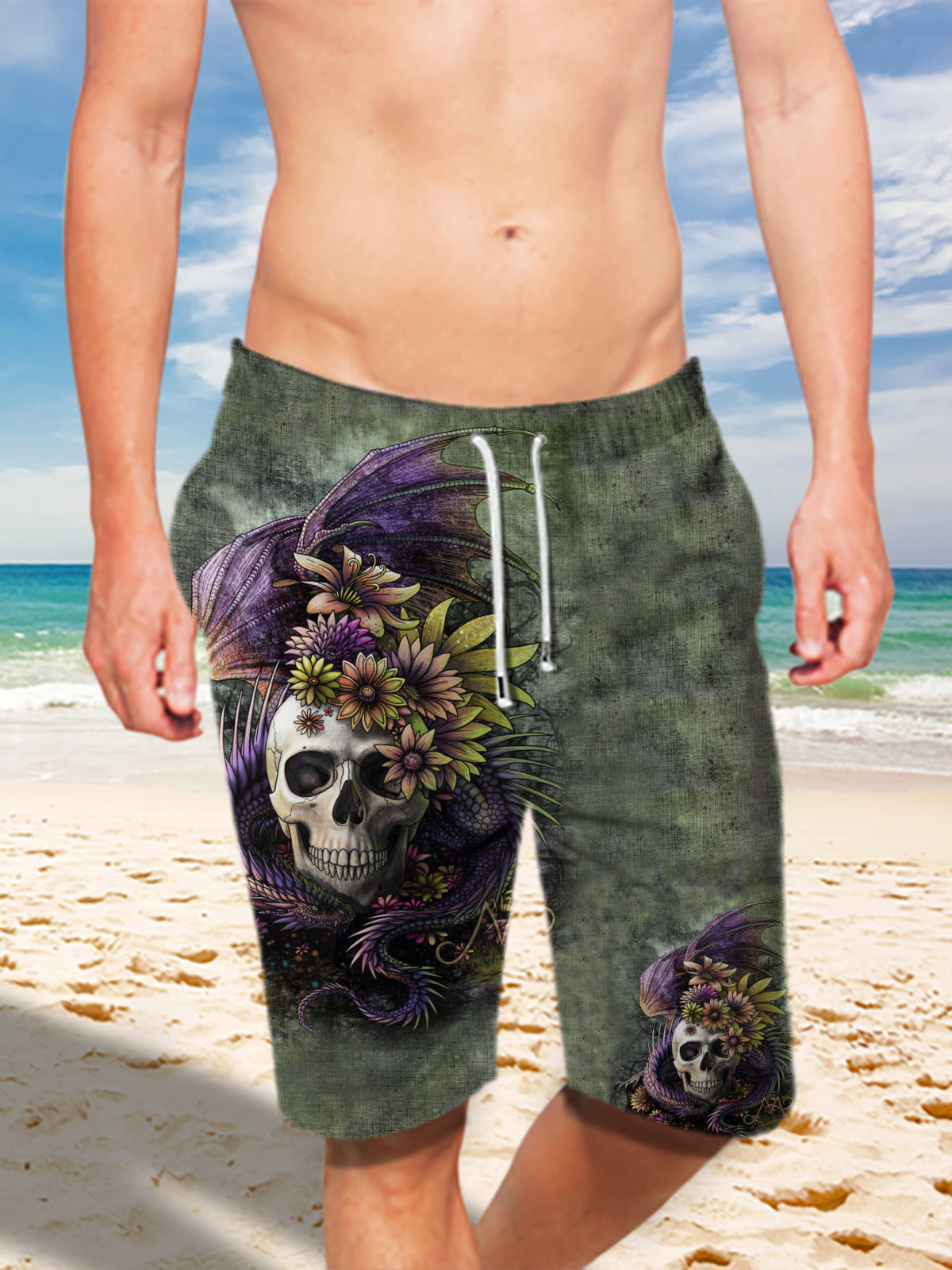 Ultra-light Drawstring 3D Skull and Dragon Shorts for Men 008