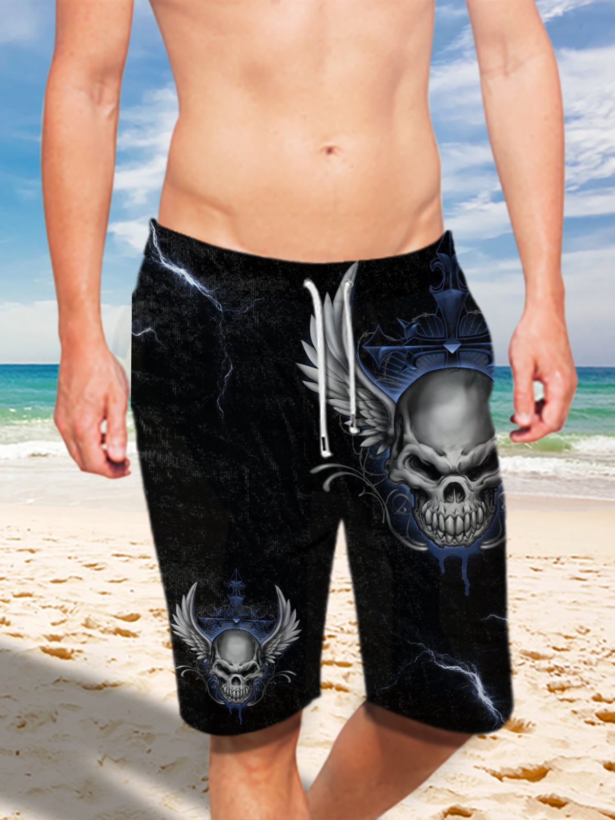 Ultra-light Drawstring 3D Blue Skull Angel Wings Shorts for Men 009