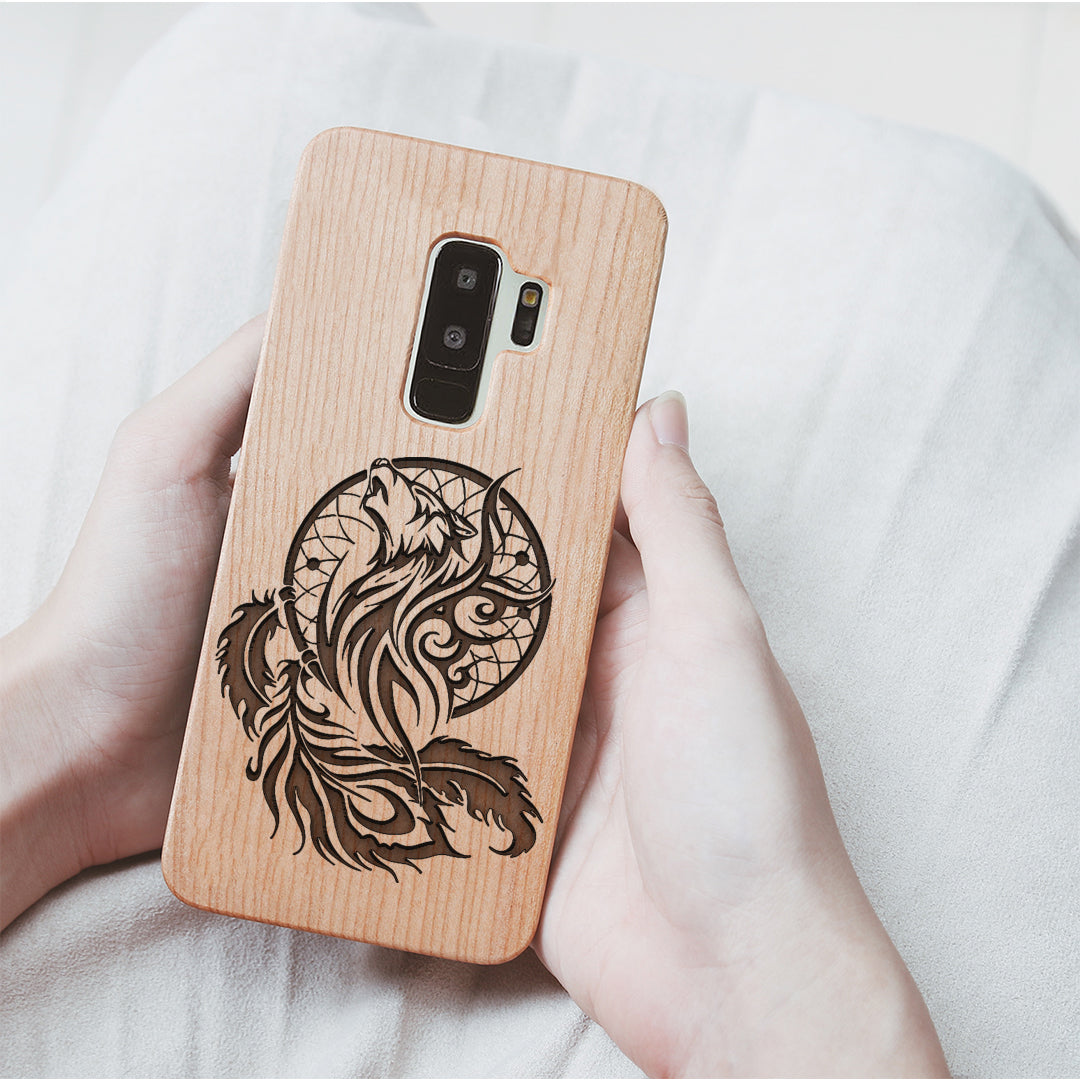 Wood Phone Case for Universal Models - Wolf Dream-catcher 001