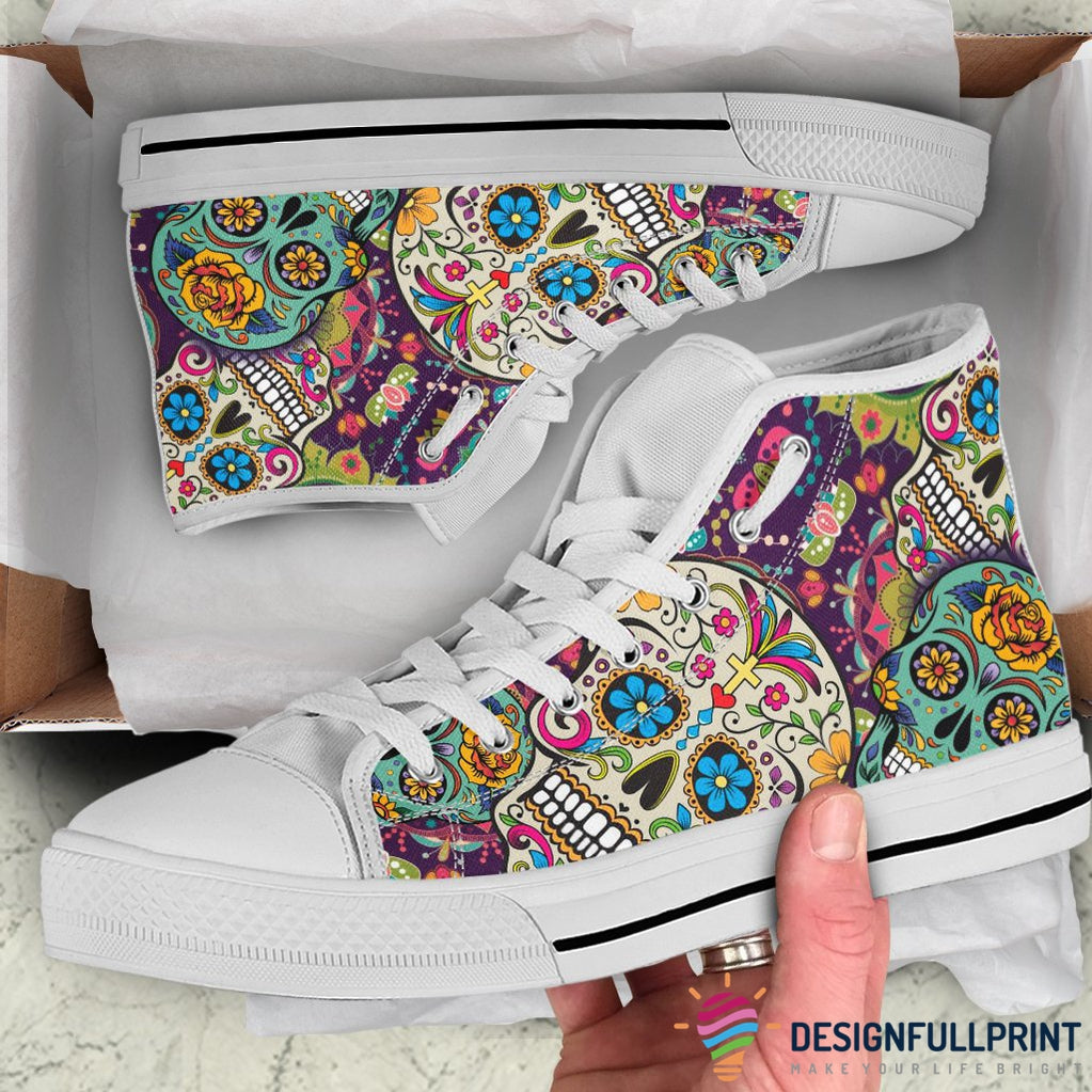 Mexican Sugar Skull Lightweight High Top Canvas Shoes 002 (Men & Women Size) - designfullprint