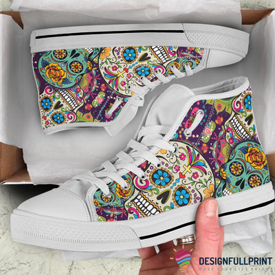Mexican Sugar Skull Lightweight High Top Canvas Shoes 002 (Men & Women Size)