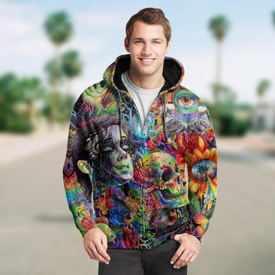 3D Colorful Abstract Skull and Girl Unisex Zip Up Hoodie 020