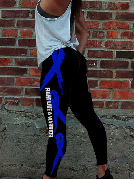 Blue Melanin Fight Like A Warrior Colon Cancer Awareness Premium Leggings