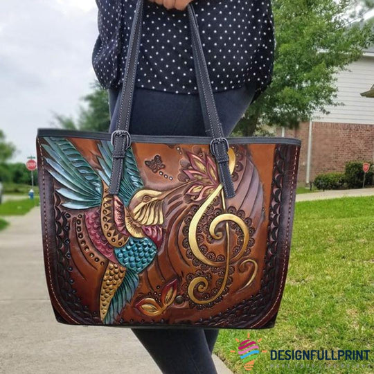 Skull Gift Hummingbird Lovers Small Leather Tote Bag HG