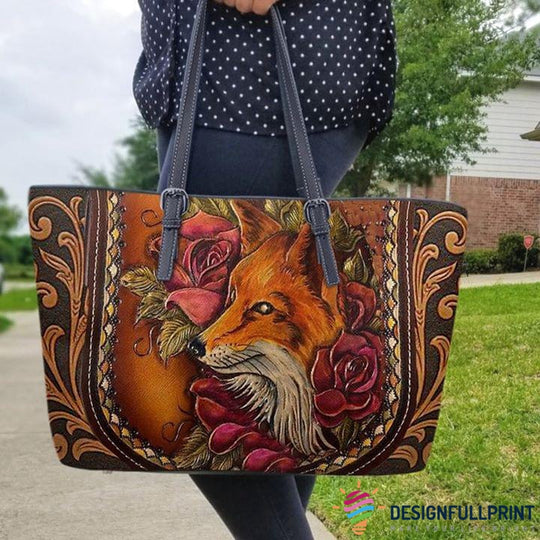Skull Gift Fox Tote Small Leather Tote Bag HG
