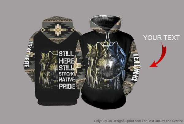 Native Wolf Personalized US Unisex Size Hoodie