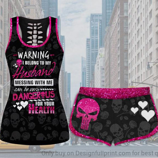 Pink Warning I Belong To My Husband Tank and Shorts Set