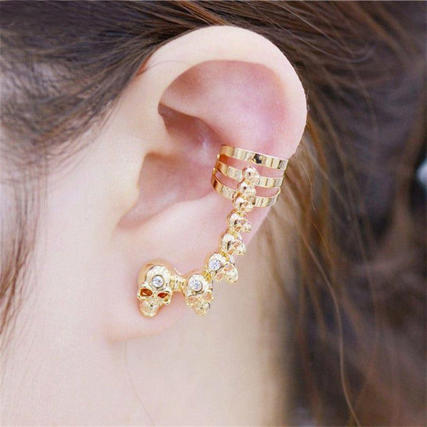 Exaggerated Crystal Skull Long Earrings
