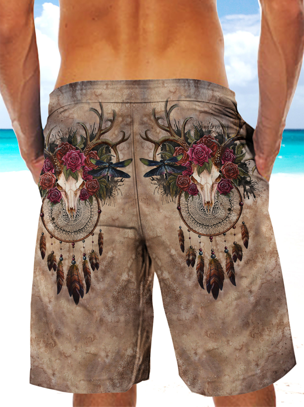 Ultra-light Drawstring Deer Skull Roses Dream-catcher Shorts for Men 010 - designfullprint