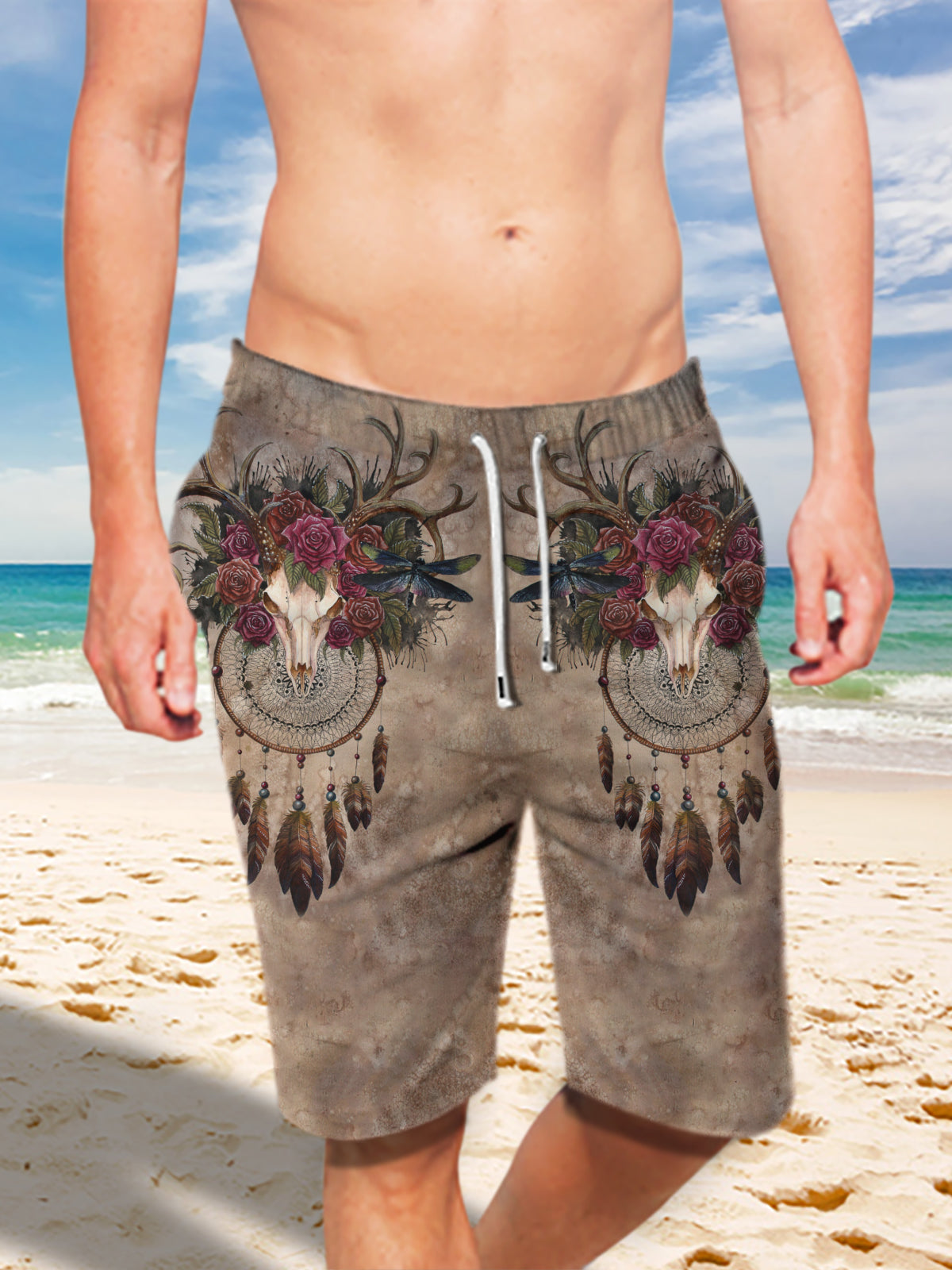 Ultra-light Drawstring Deer Skull Roses Dream-catcher Shorts for Men 010
