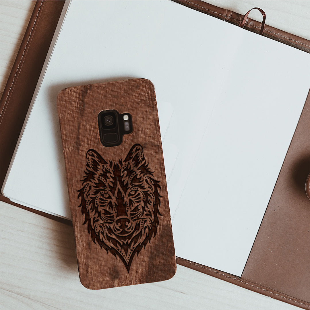 Wood Phone Case for Universal Models -Wolf Face 010 - designfullprint