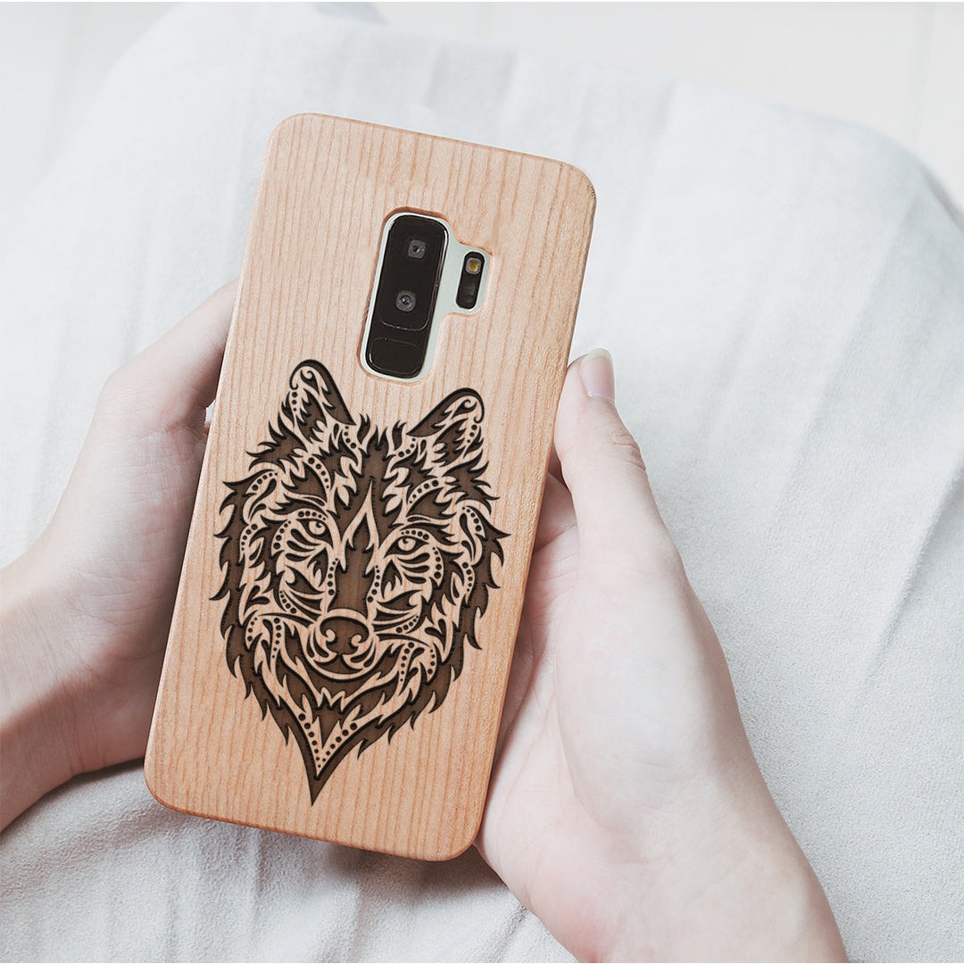Wood Phone Case for Universal Models -Wolf Face 010