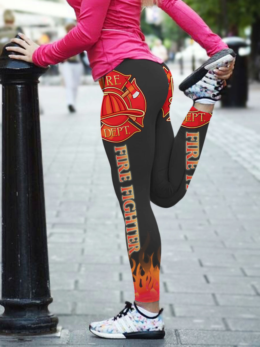3D Firefighter Fire Rescue Leggings 005 - designfullprint