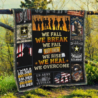 U.S Army Veteran We Rise We Heal We Overcome Quilt Blanket
