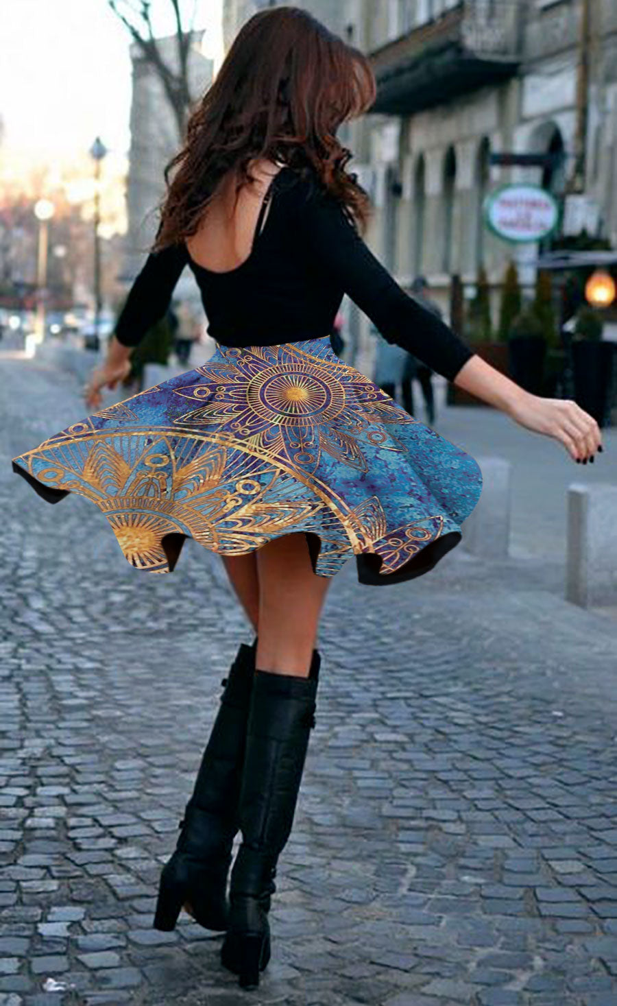 Gold Mandala Art 3D Skirt 01