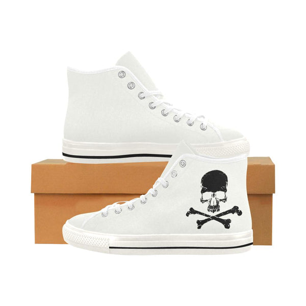 B&W Crossbone Skull Printed High Top Women's Shoes