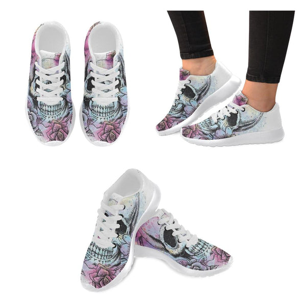 Tattooed Flower And Skull Printed Women's Sneakers