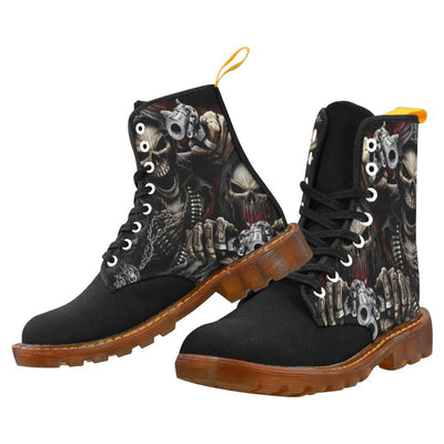 Gunslinger Skull Printed Men's Boots