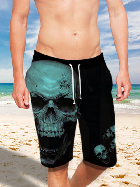 Ultra-light Drawstring 3D Blue Skulls Shorts for Men 013 - designfullprint