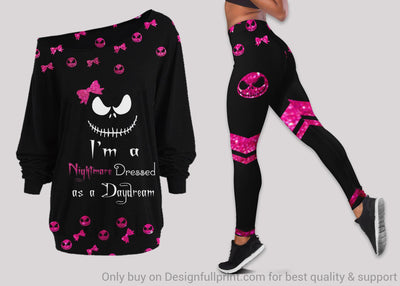Im A Nightmare Dressed As A Daydream Pink Halloween Skulls Off Shoulder Long Sleeve Top and Leggings Set