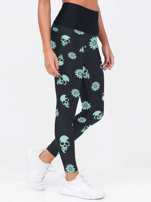 Women Elastic Skinny Sexy Sugar Skull and Daisy Leggings 012 - designfullprint