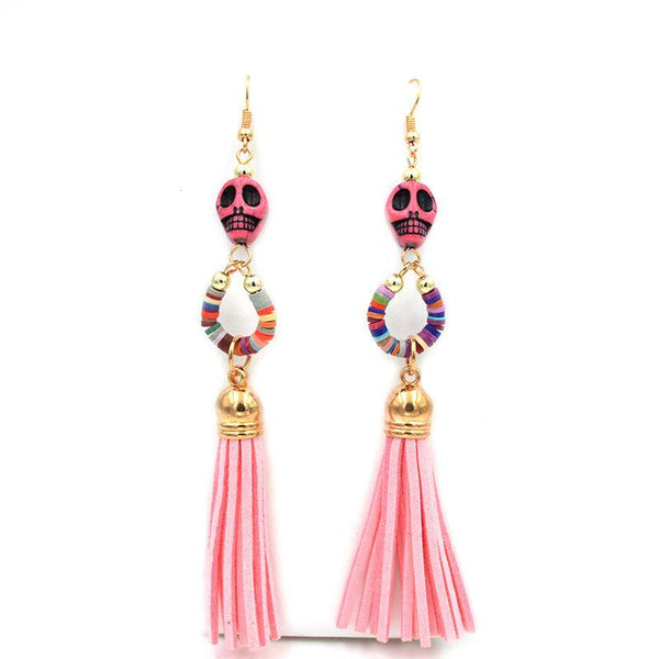 Multi-Color Long Tassel Skull Stone Earrings