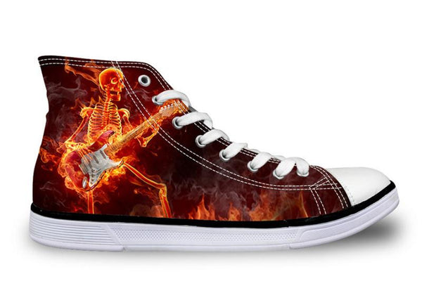Fire Punk Skull Custom Design High Top Flats Shoes